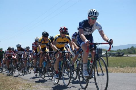 Sam Bolster leading out the Men's B racers at UCD Road Race